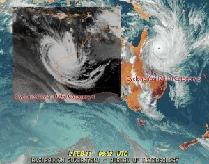 Cyclone Yasi (2011) vs Cyclone Olivia (1996)