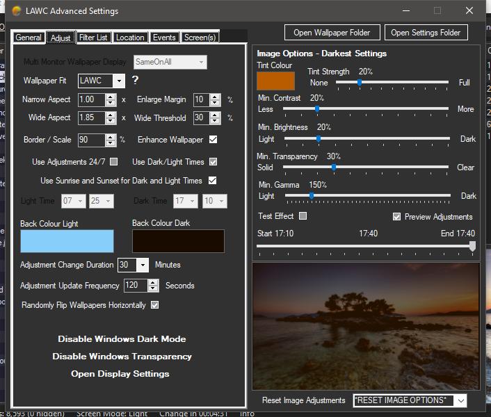 Light Adjusting Wallpaper Changer - Advanced Settings Adjust